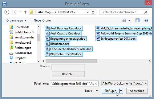 Word: mehrere Dateien einfügen