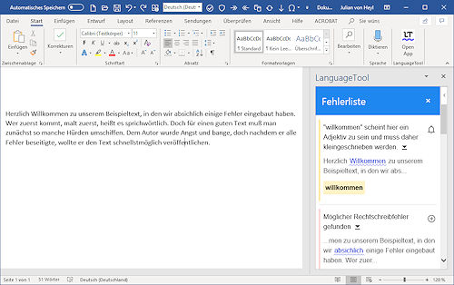 LanguageTool Plug-in für Microsoft Word